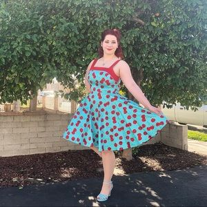Golightly Cherry Pinup Dress in Blue